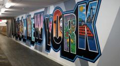 LinkedIn Postcard Style Office Street Art Mural
