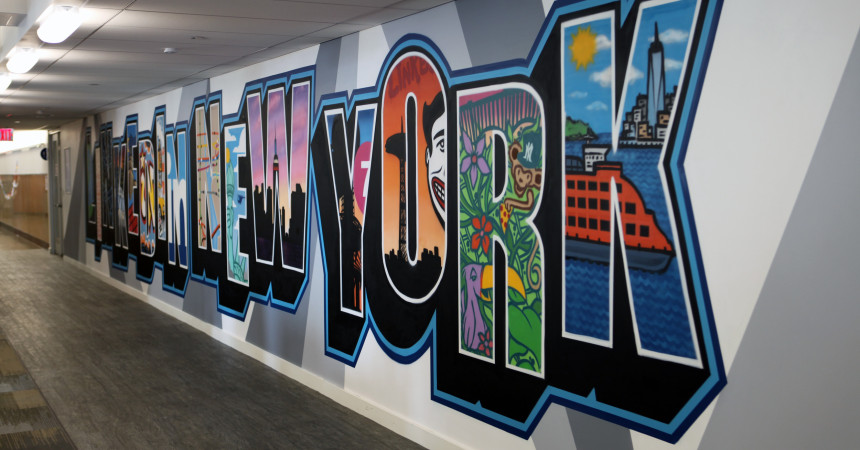 LinkedIn Postcard Style Office Street Art Mural