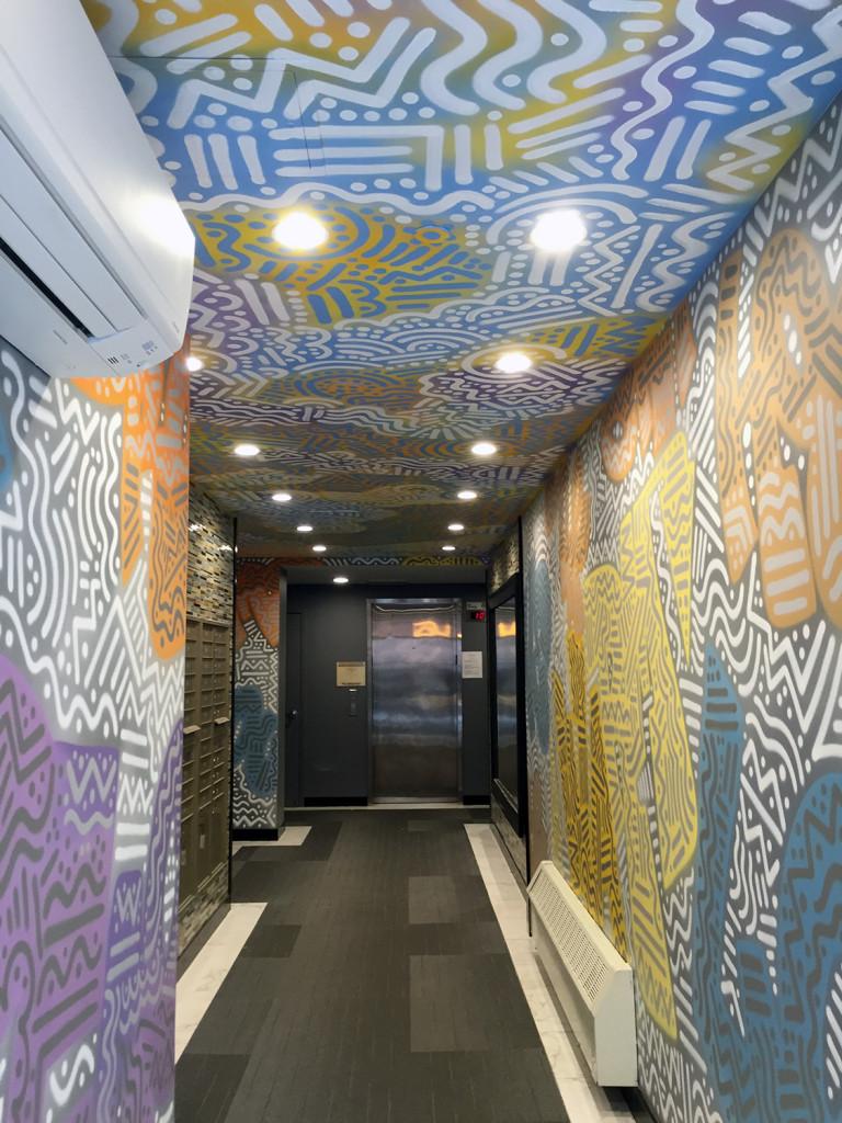 Harlem Residential Lobby - Keith Haring Style Mural