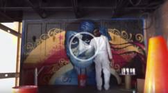 Restaurant graffiti mural