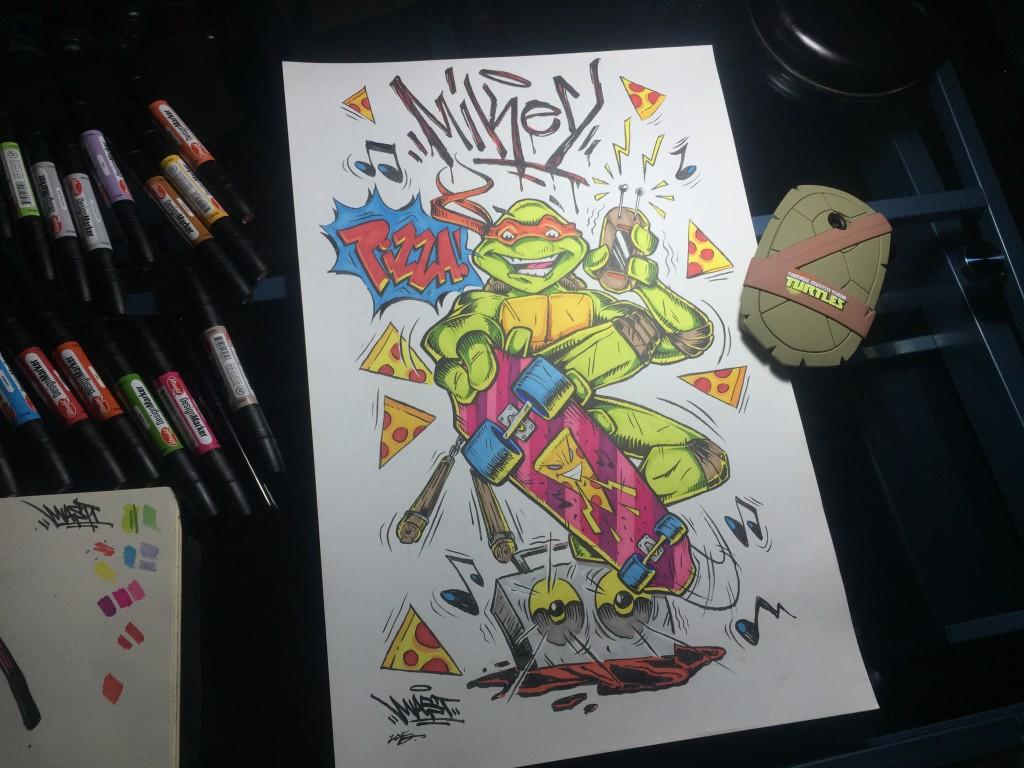 Michaelangelo Graffiti Artwork Nickelodeon LG - Mast