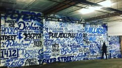 Philadelphia Glossblack Letter Collage Mural in Gym