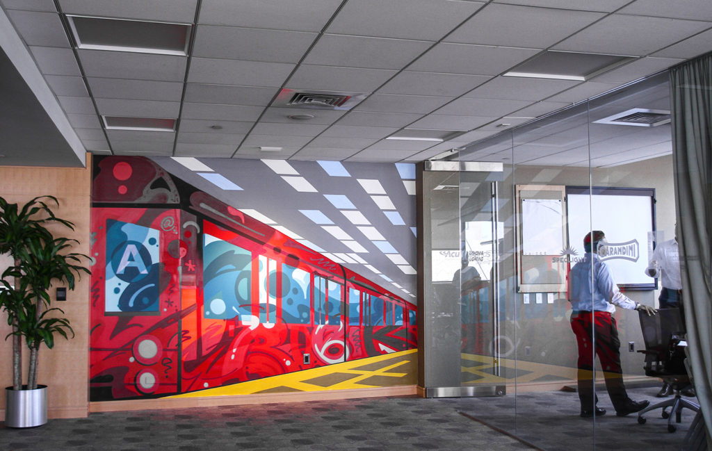 Acuity Brands Lighting Subway Mural in Office