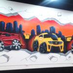 Cartoon Cars and Skyline in Miami - Mural Artwork